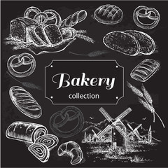 hand drawn sketch illustration bakery on a black background