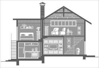 house interior silhouette. Vector illustration