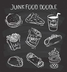 Set of snack doodle on chalkboard background. Burger, pizza, soft drink, french fries, potato chip, hot dog, taco, burrito and ice cream cone