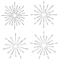 set of line sunburst or explosion