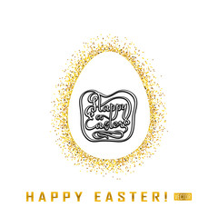 Greeting card with Happy day of Easter