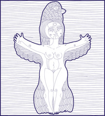 Vector lined illustration of mythic creature, nude woman