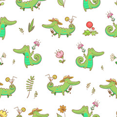 Summer seamless pattern with cute carton crocodiles, ice cream and cocktails.Animals and flowers on  white background. Vector image.