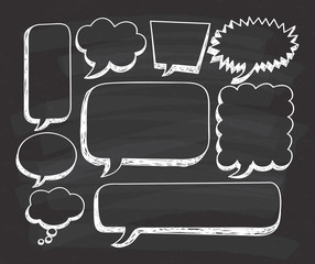 Hand drawn speech bubble doodle on chalkboard background