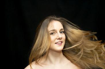 Beautiful  Woman Shaking Her Hair