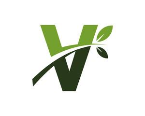 V green leaves letter swoosh ecology logo