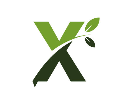 X green leaves letter swoosh ecology logo