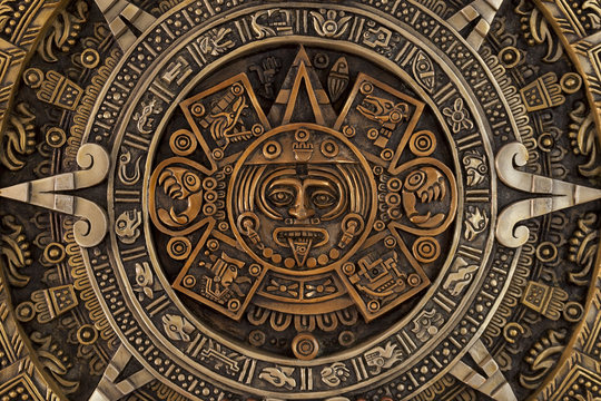 Close view of the aztec calendar
