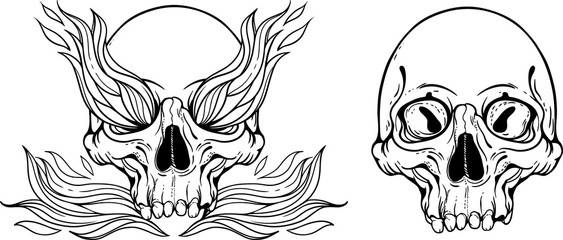 illustration with skull and flames of fire