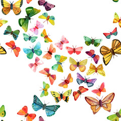 Seamless background pattern with numerous different watercolor butterflies