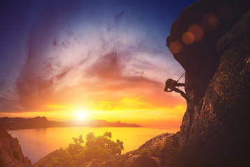 Climber against sunset
