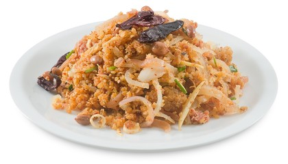 Thai Fermented Pork Salad with Spicy Rice on White