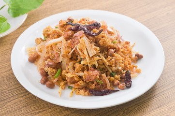 Thai Fermented Pork Salad with Spicy and Crispy Curried Rice