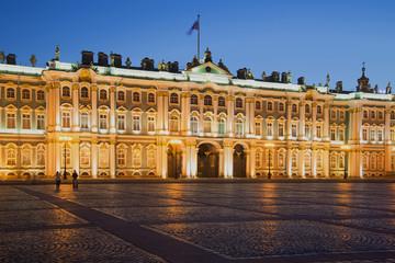 The winter Palace at night illumination at white night. St. Petersburg