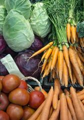 tomatoes; salad; lettuce; radicchio; carrots