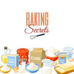 Background with cartoon food: baking ingredients - flour, eggs, oil, water, butter, starch, salt, whipped cream, milk, sugar. Vector illustration, isolated on white, eps 10.