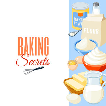Background with cartoon food: baking ingredients - flour, eggs, butter, salt, whipped cream, milk. Vector illustration, isolated on white, eps 10.