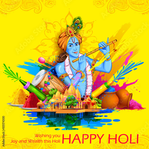 Lord Krishna Playing Flute In Happy Holi Background Stock Image And