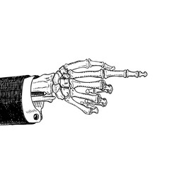 Scary skeleton hand pointing, hand-drawn sketch, black and white, isolated on white. Vector illustration, eps10.