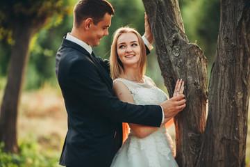 Beautiful romantic wedding couple of newlyweds hugging in park on sunset