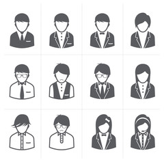 People Icons set with White Background