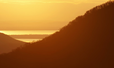 Foto op Aluminium Ochtendgloren Sunset at Lake Balaton, Hungary