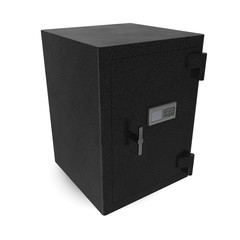 Safe box with electronic lock on white