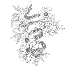 Snakes and flowers. Tattoo art, coloring books.