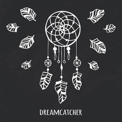 Vector hand drawn tribal dreamcatcher