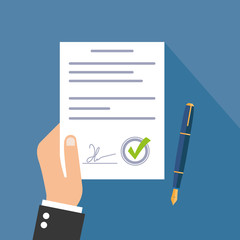 Business man hand holding contract agreement vector illustration, checkmark, pen flat icon