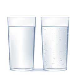 Glass of water and sparkling water.