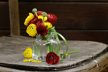 Beautiful spring buttercup (ranunculus) flowers red and yellow