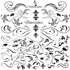 Vector set of vintage styled calligraphic elements or flourishes