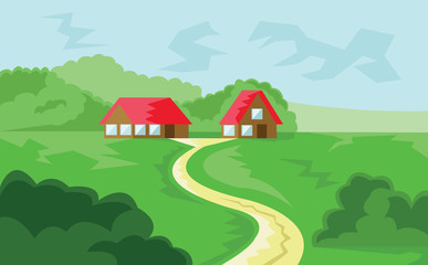 Two Houses with Red Roof in Woods. Countryside View. Cloudy Sky and Green Hills Landscape. Digital background vector illustration.