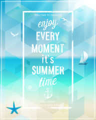 Wall Mural - Enjoy every moment poster with beach background.