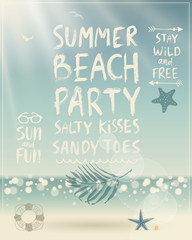Wall Mural - Summer Beach Party poster with handwritten calligraphy.