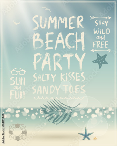 Wall mural Summer Beach Party poster with handwritten calligraphy.
