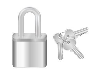 Padlock and bunch of keys