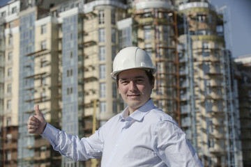 Russian Federation. Belgorod. Young engineer on a construction site.