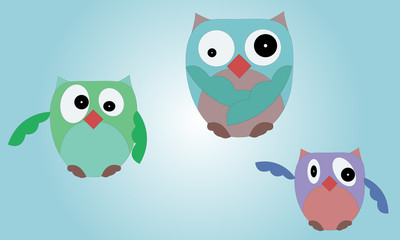 Illustrated set of owls on blue gradient background with various body shapes