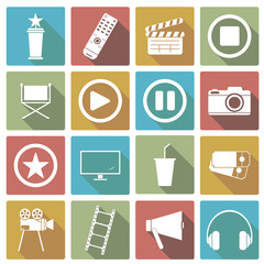 Set of cinema icons. Vector Illustrations
