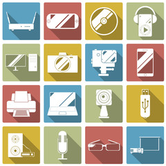 Set of gadget icons. Vector illustrations