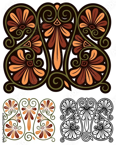 Abstract Decorative Design Inspired By Traditional Greek Motifs And Art Nouveau
