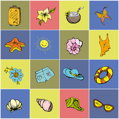 Colored Set icon summer holiday