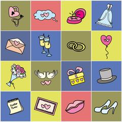 Colored  icon set - Wedding, marriage, bridal.