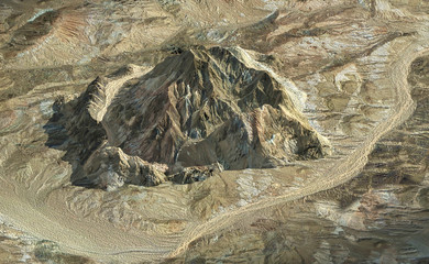 Isolated rock mountain from aerial view for background, 3D render