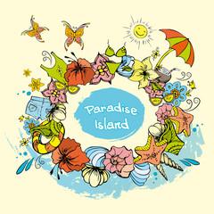Paradise Island background summer background