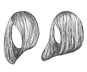Hand drawn fashion hair styles sketch