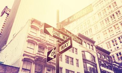 Vintage stylized street signs in Manhattan, New York, USA