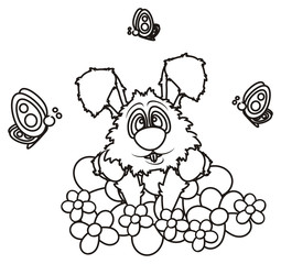 circuit, colorless, line, coloring, spring, butterfly, wings, season,  spring, flowers, flower, meadow, bed, butterfly, smell, petals, isolated, bunny, pet, farm, toy, cartoon, hare, rabit